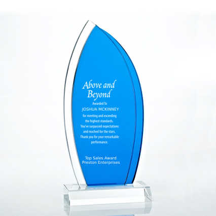 Royal Blue Accented Double Pane Trophy - Sail